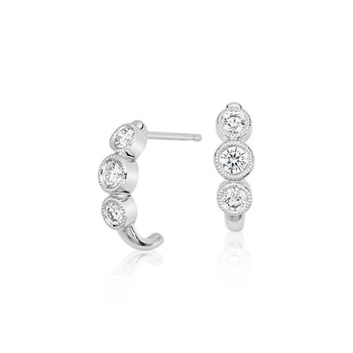 Three-Stone Diamond Milgrain Halo Earrings in 14k White Gold