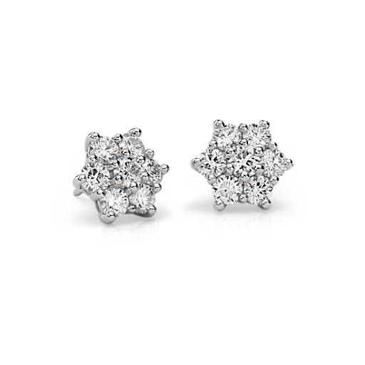 Blue Nile Signature Diamond Cluster Earrings in Platinum (2.30 ct. tw.)