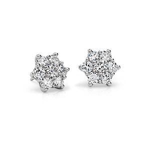 Boucles d'oreilles grappe diamant Signature Blue Nile en platine (2,30carats, poids total)