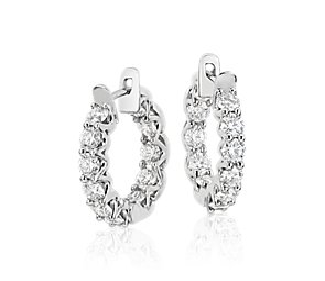 Blue Nile Signature Diamond Hoop Earrings in Platinum (3.5 ct. tw.)