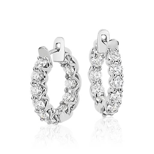 Blue Nile Signature Diamond Hoop Earrings in Platinum (3.5 ct. tw.)