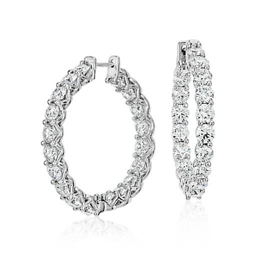 Blue Nile Signature Diamond Hoop Earrings in Platinum (6 ct. tw.)