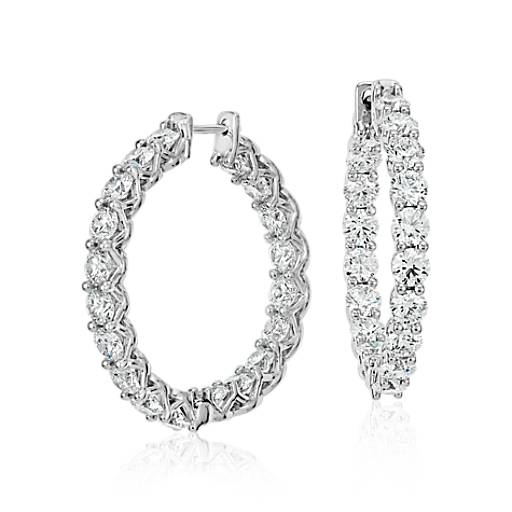Blue Nile Signature Diamond Hoop Earrings in Platinum (6 ct. tw.)