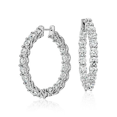 Blue Nile Signature Diamond Eternity Hoop Earrings in Platinum (6 ct. tw.)