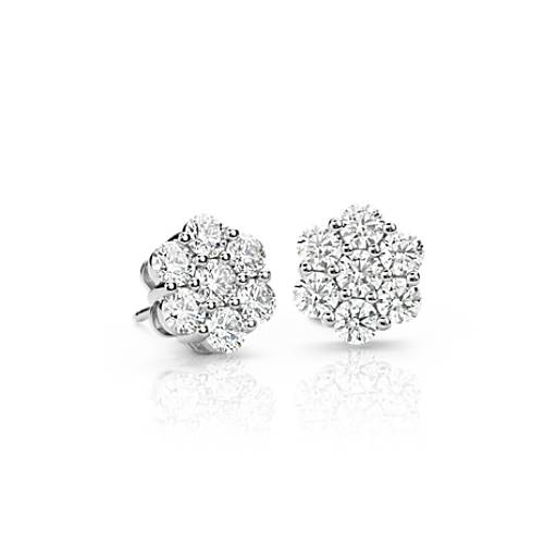 NEW Blue Nile Signature Diamond Floral Earrings in Platinum (2.20 ct. tw.)