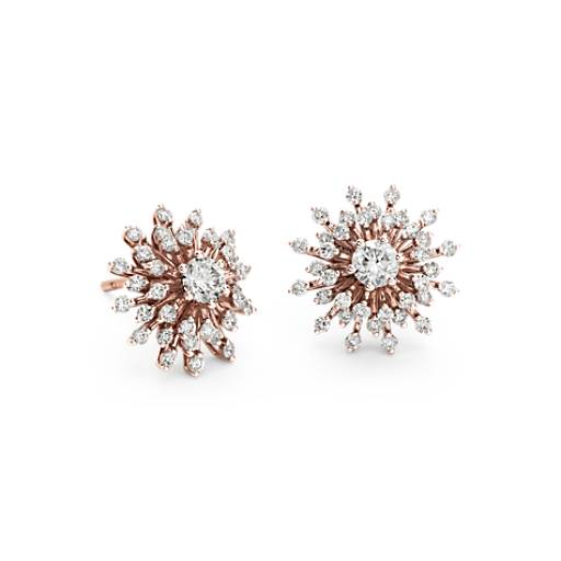 Sunburst Diamond Earrings in 14k Rose Gold