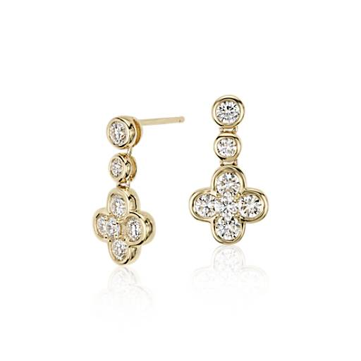NEW Blue Nile Studio Diamond Floral Drop Earring in 18k Yellow Gold