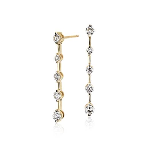 Blue Nile Studio Diamond Drop Earrings 18k Yellow Gold