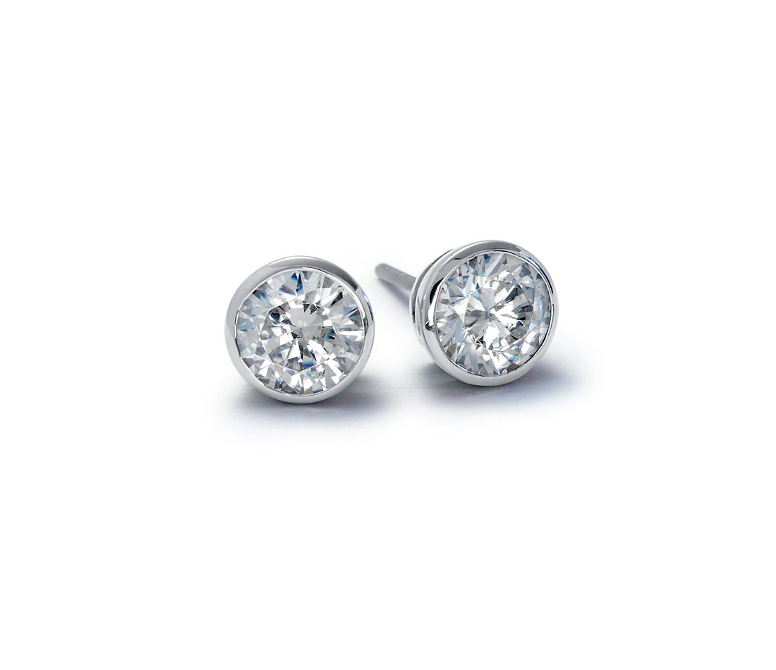 Bezel Cup Earrings in 18k White Gold
