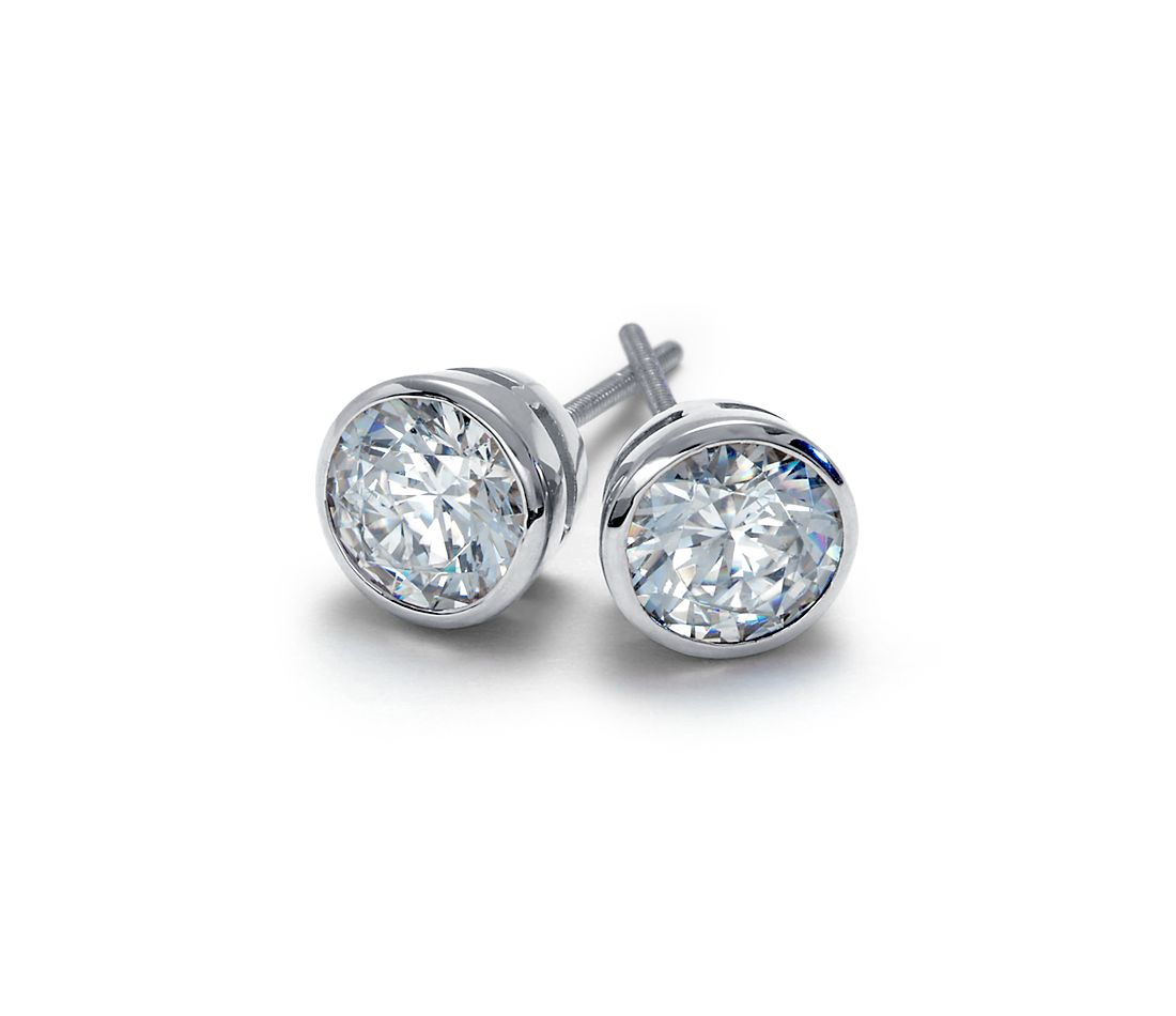 Bezel Cup Earrings in Platinum