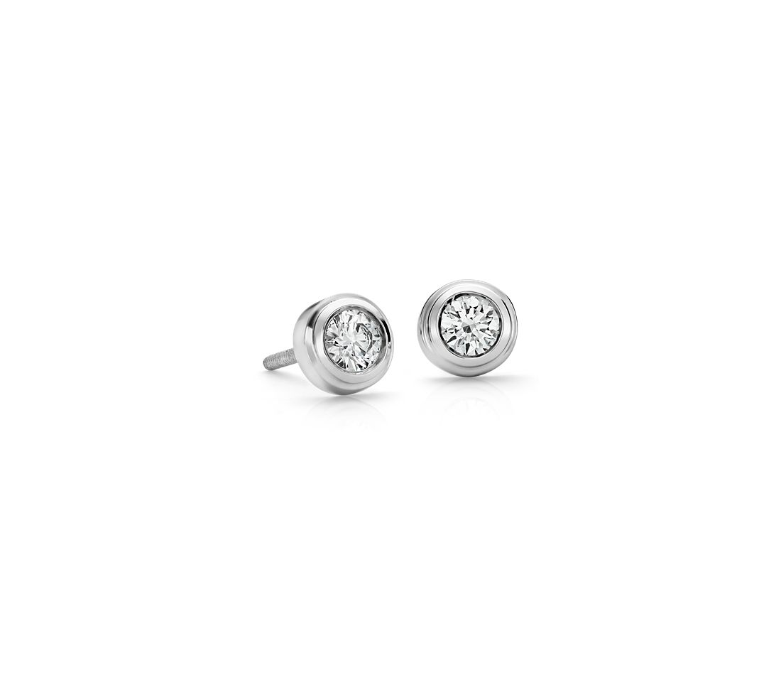 Diamond Bezel Stud Earrings in 18k White Gold (3/8 ct. tw.)