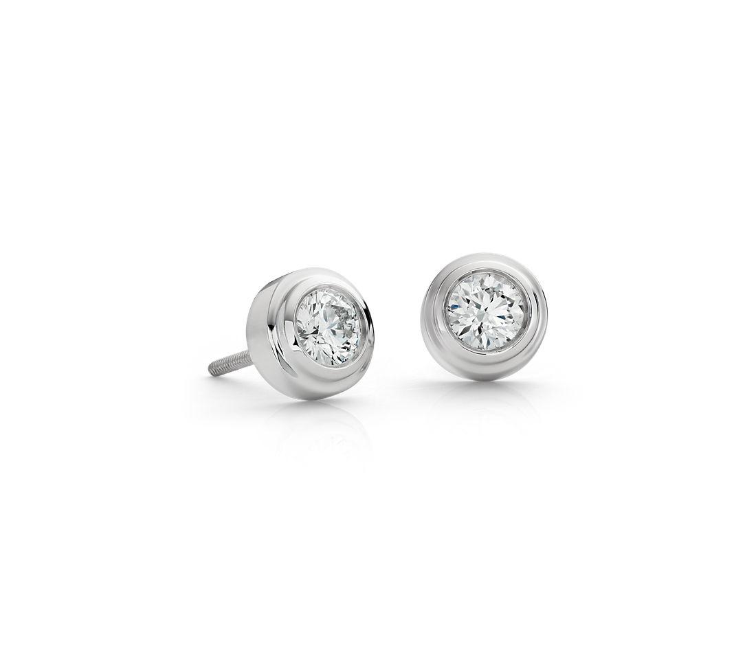 Puces d'oreille diamant clos en or blanc 18carats (0.07carat, poids total)