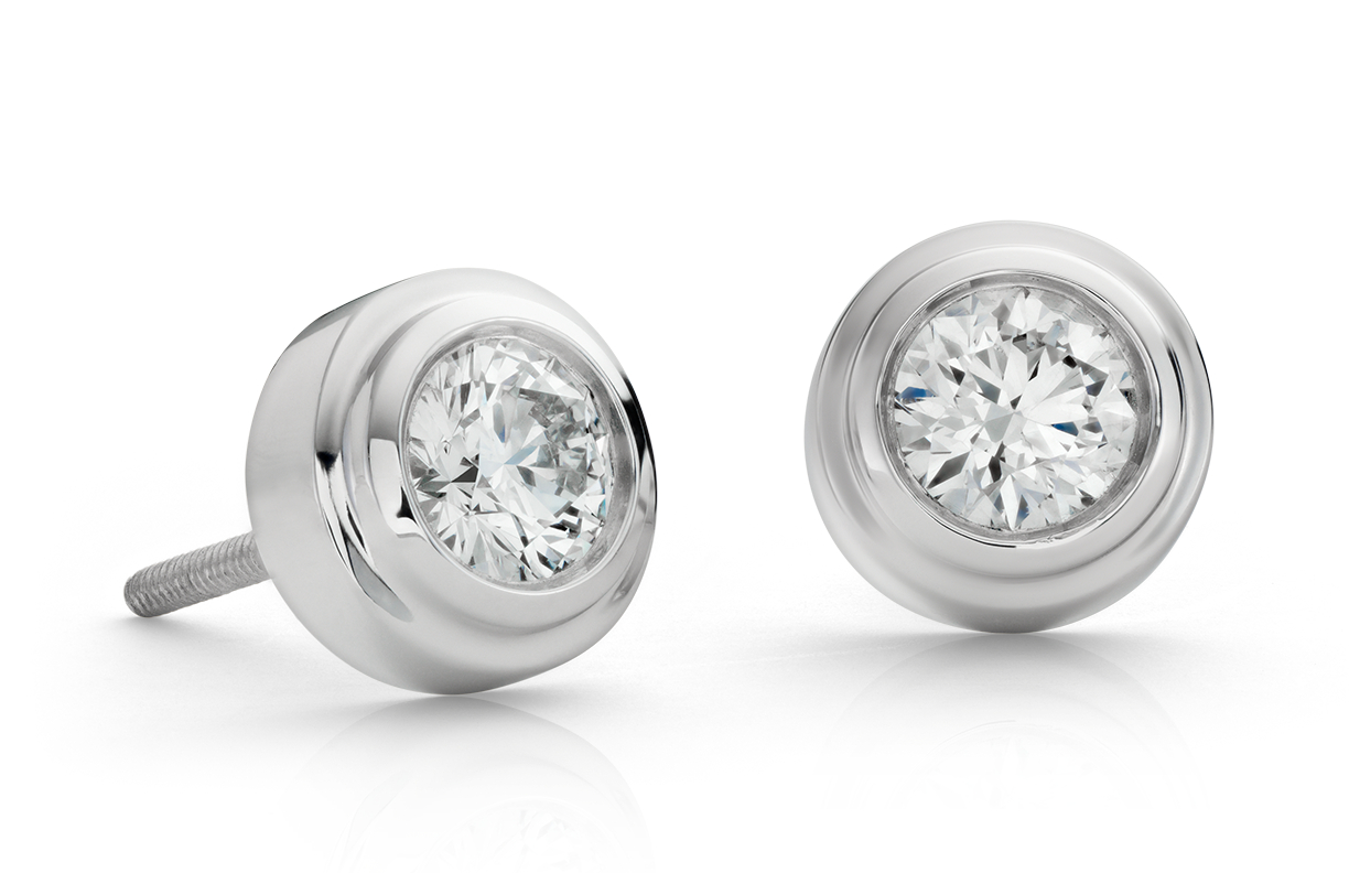 Diamond Bezel Stud Earrings in 18k White Gold (0.80 ct. tw.)