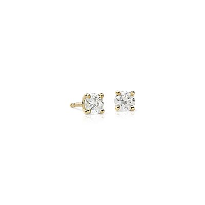 18k Gold Four-Claw Diamond Stud Earrings (1/2 ct. tw.)