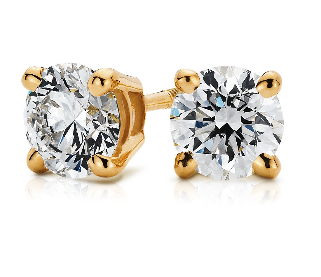 18k Gold Four-Claw Diamond Stud Earrings (3/4 ct. tw.)