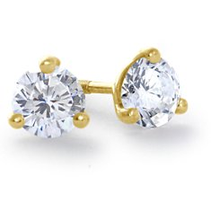 Martini Three-Claw Earrings in 18k Yellow Gold