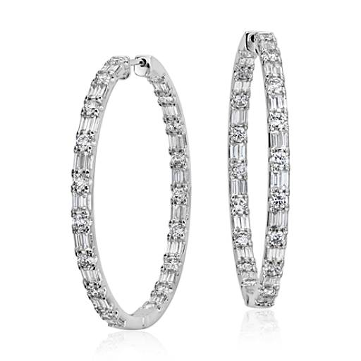 Large Diamond Hoop Earrings in 18k White Gold
