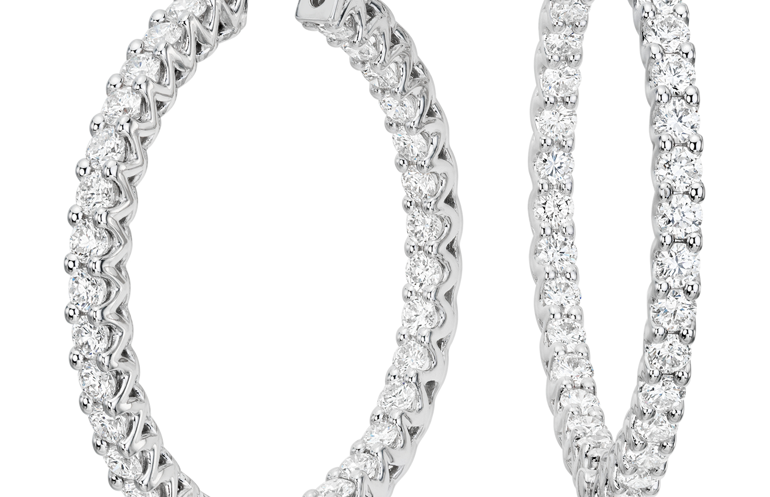 Diamond Eternity Hoop Earrings in 18k White Gold (3 ct. tw.)