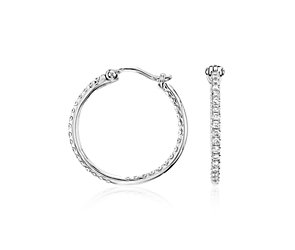 Micropavé Hoop Diamond Earrings in 18k White Gold (1/2 ct. tw.)