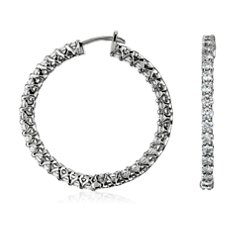 Prong-Set Hoop Diamond Earrings in 18k White Gold (3 ct. tw.)