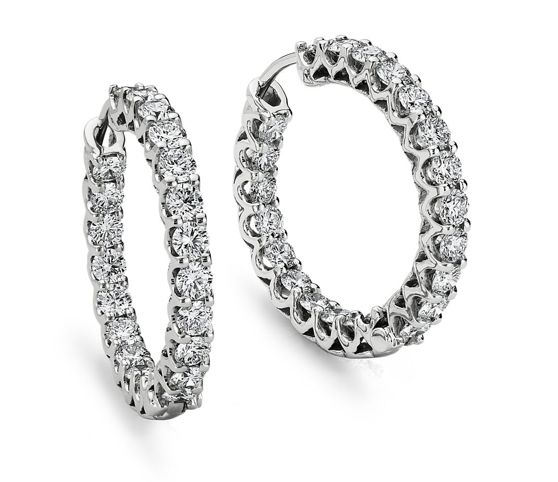 Prong Set Hoop Diamond Earrings in 18k White Gold (3 1/2 ct. tw.)