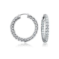 Claw Set Hoop Diamond Earrings in 18k White Gold (3 1/2 ct. tw.)