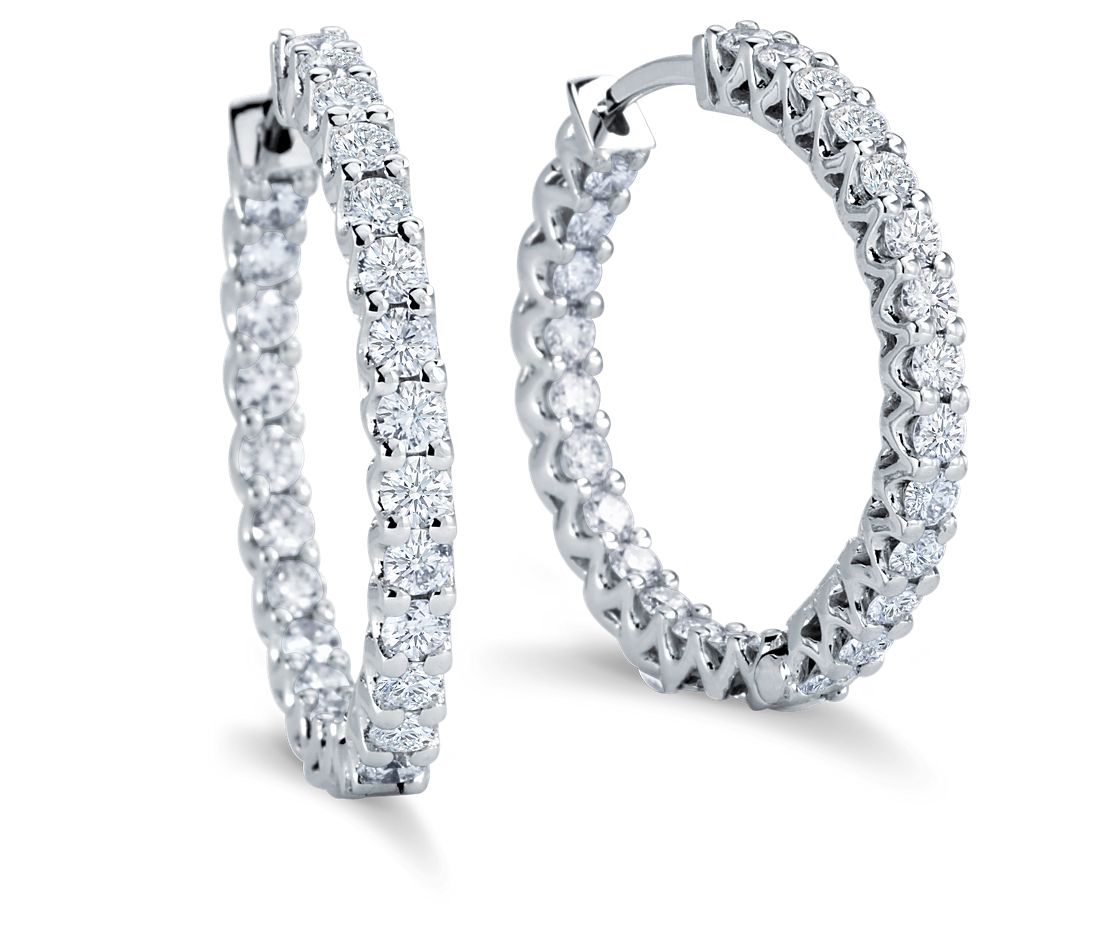 Hoop Diamond Earrings in 18k White Gold