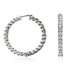 Claw-Set Hoop Diamond Earrings in 18k White Gold (4 3/4 ct. tw.)