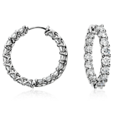 Prong-Set Hoop Diamond Earrings in 18k White Gold (4 1/2 ct. tw.)