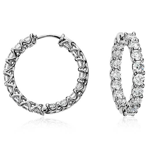 Claw-Set Hoop Diamond Earrings in 18k White Gold (4 1/2 ct. tw.)