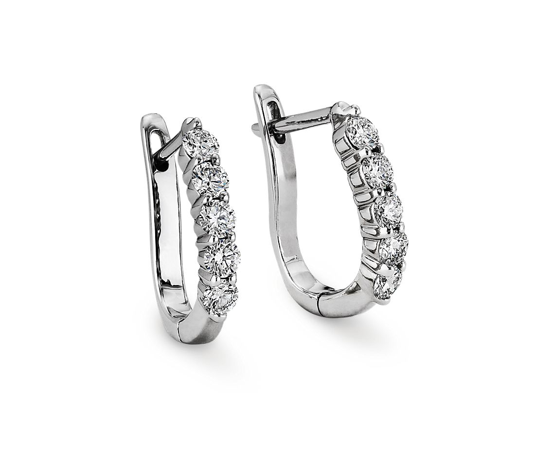 Diamond Hoop Earrings in 18k White Gold