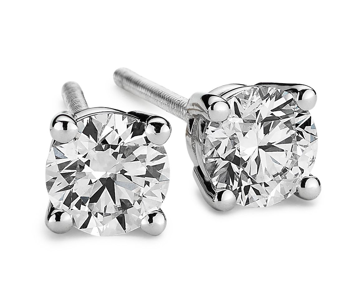 Platinum Four-Claw Diamond Stud Earrings (1/2 ct. tw.)