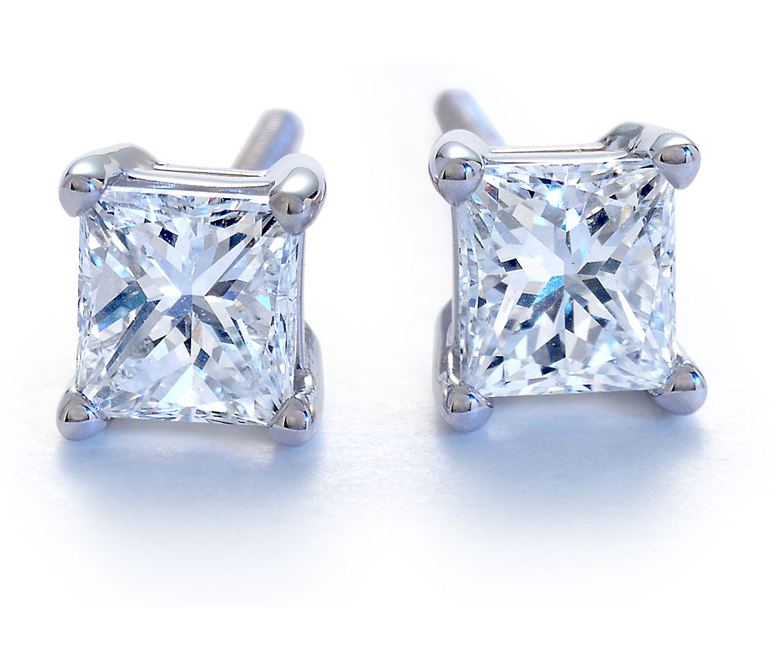 Platinum Four-Claw Square Earring Setting