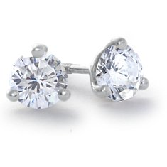 Martini Three-Claw Earrings in Platinum