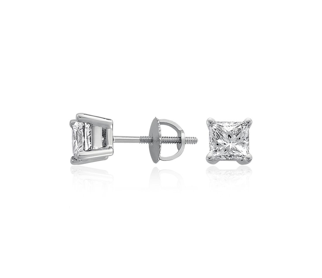 Princess-Cut Diamond Stud Earrings in 18k White Gold (2 ct. tw.)