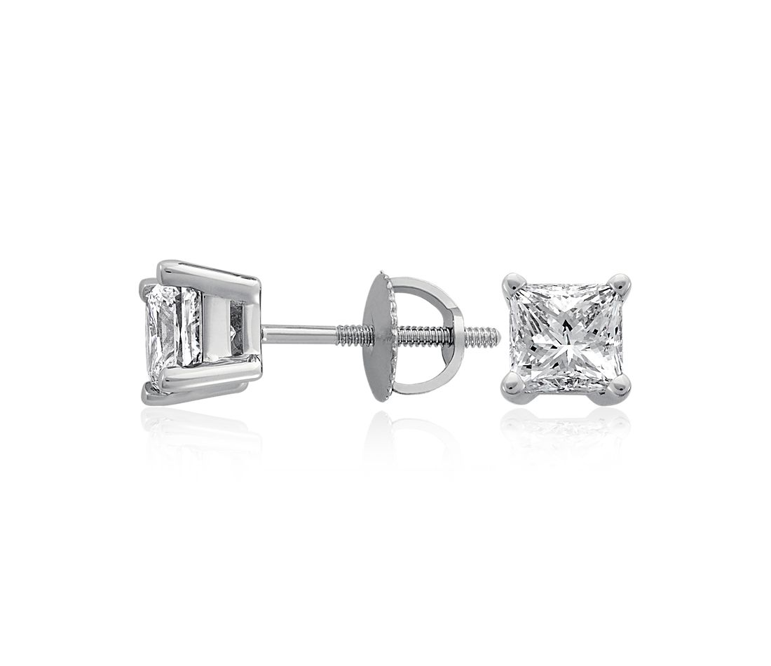 Princess-Cut Diamond Stud Earrings in 18k White Gold (4 ct. tw.)