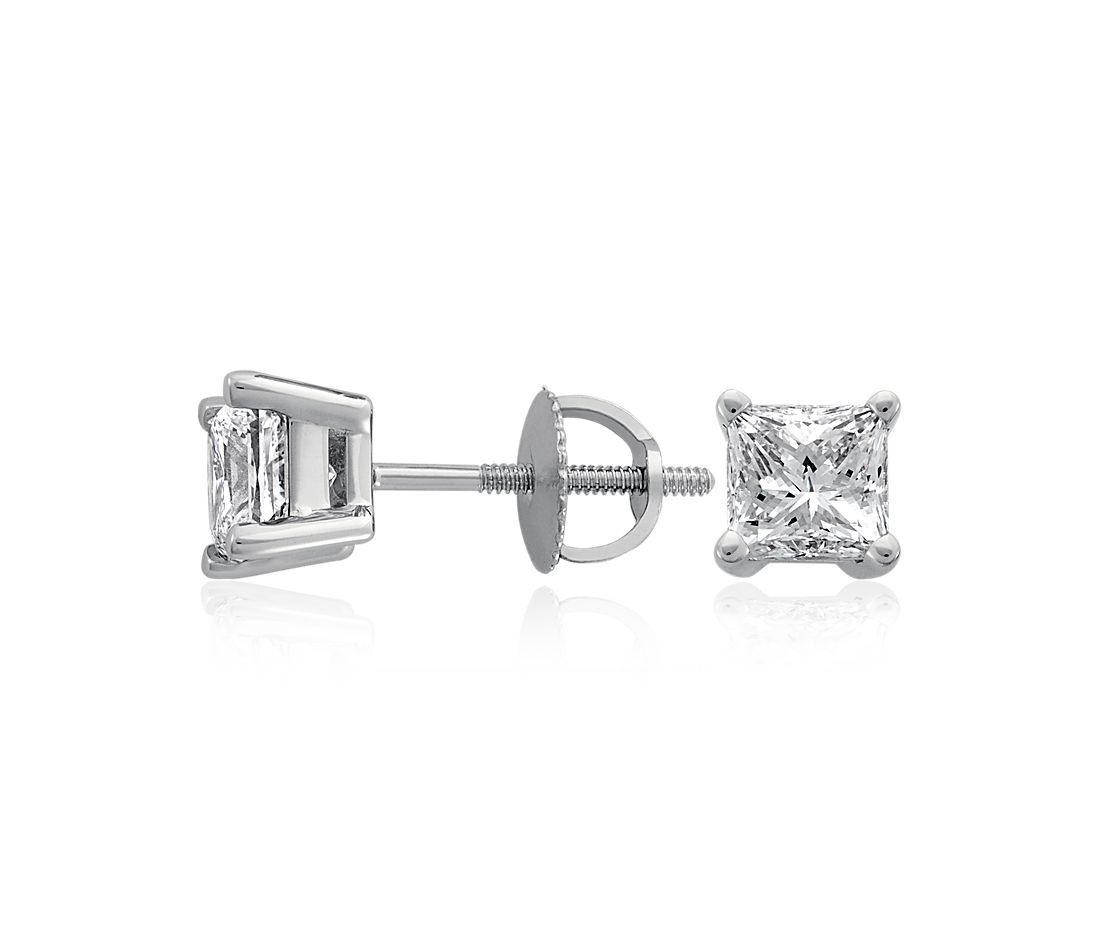 Princess-Cut Diamond Stud Earrings in 18k White Gold (4 ct. tw.)