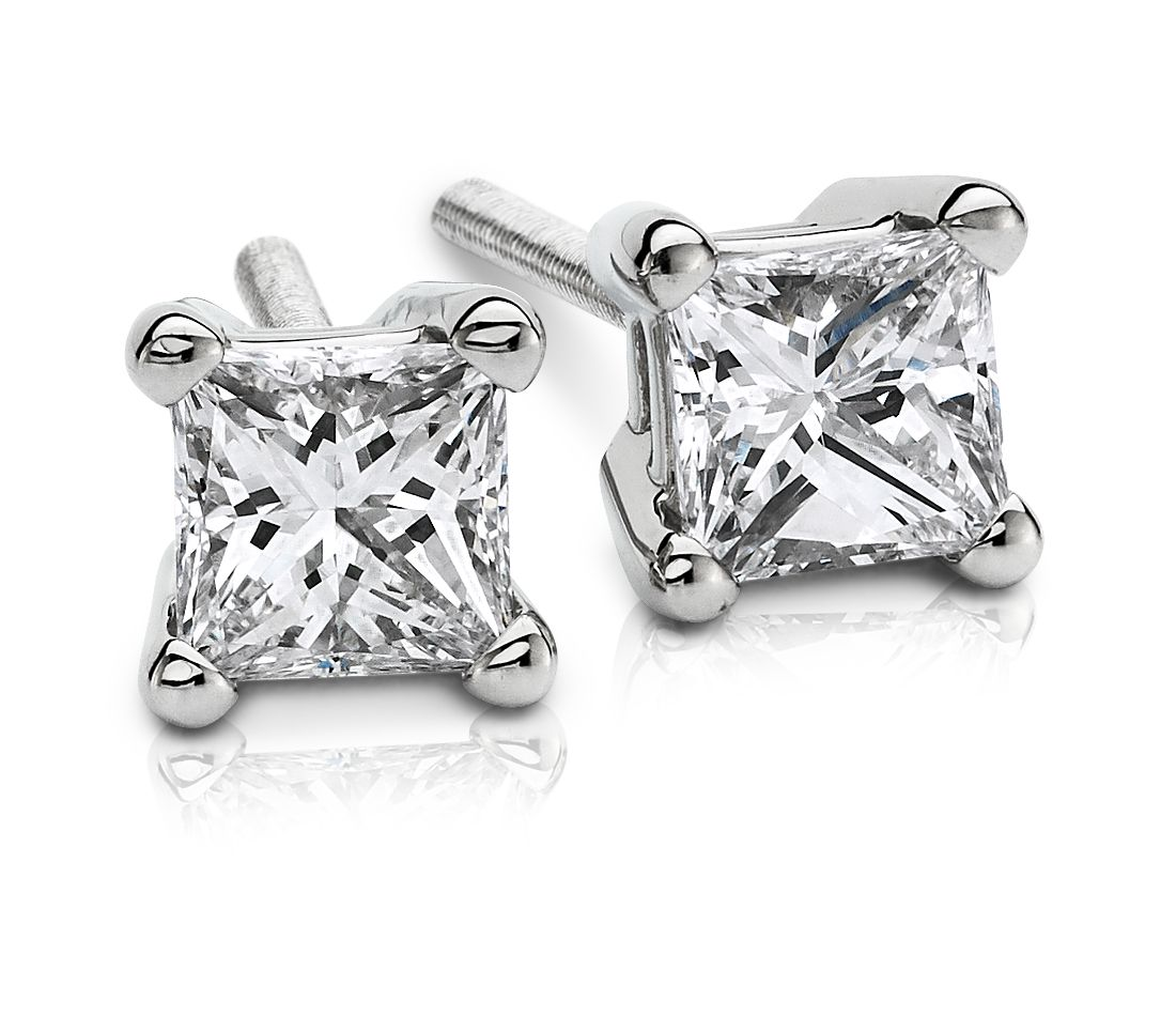 Platinum Princess-Cut Diamond Stud Earrings (1/3 ct. tw.)