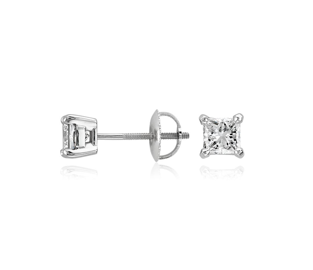 Platinum Princess-Cut Diamond Stud Earrings (1 ct. tw.)