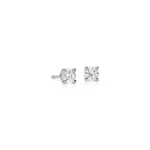 18k White Gold Four-Claw Diamond Stud Earrings (1/2 ct. tw.)