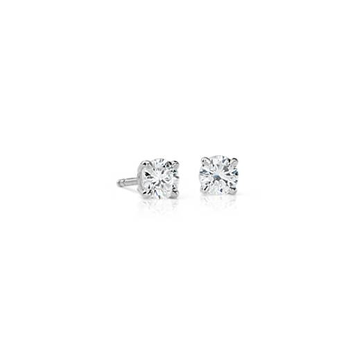 Or blanc 18carats Puces d'oreilles en diamant sertissure à quatre griffes (3/4carat, poids total)