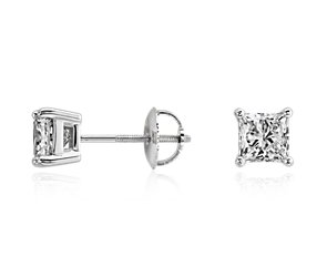 Princess-Cut Diamond Stud Earrings in 18k White Gold (1 1/2 ct. tw.)