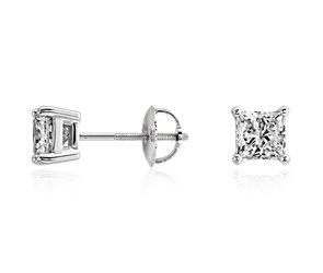 Princess-Cut Diamond Stud Earrings in 18k White Gold (1 1/2 ct. tw.)