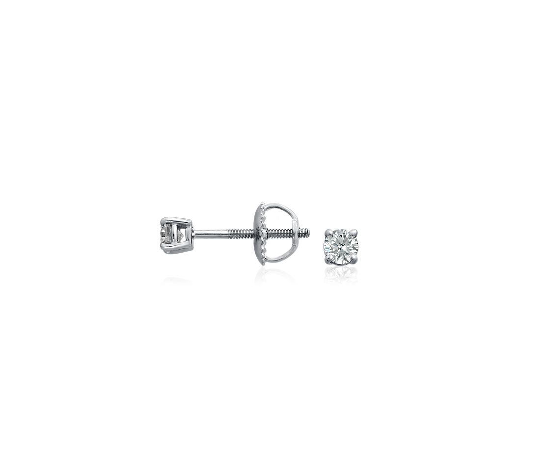 18k White Gold Four-Claw Diamond Stud Earrings (1/3 ct. tw.)