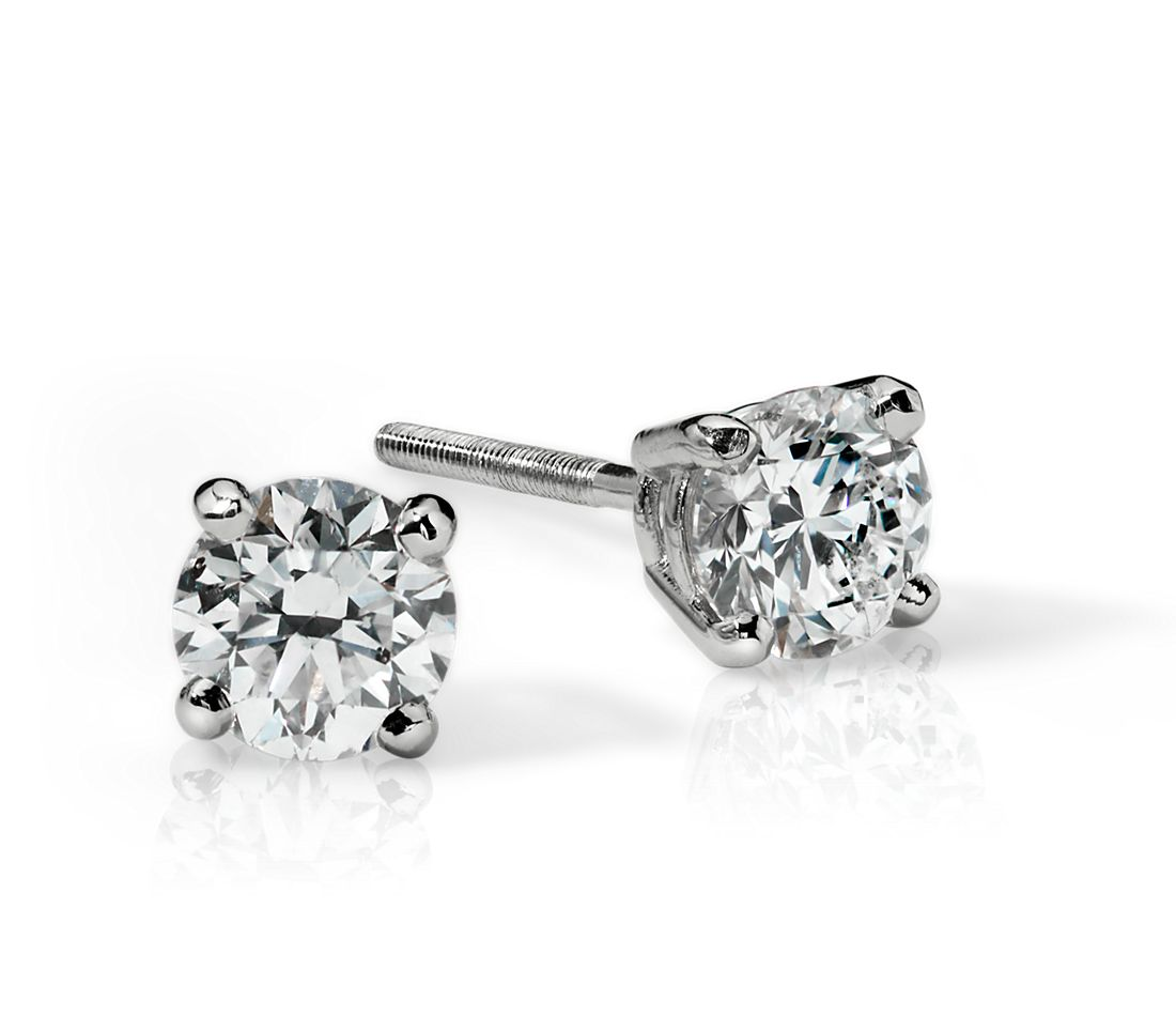 18k White Gold Four-Claw Diamond Stud Earrings (3/4 ct. tw.)
