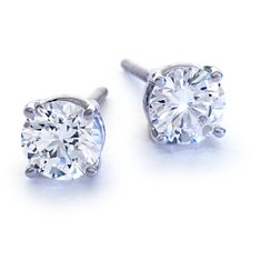 Four-Claw Earrings in 18k White Gold