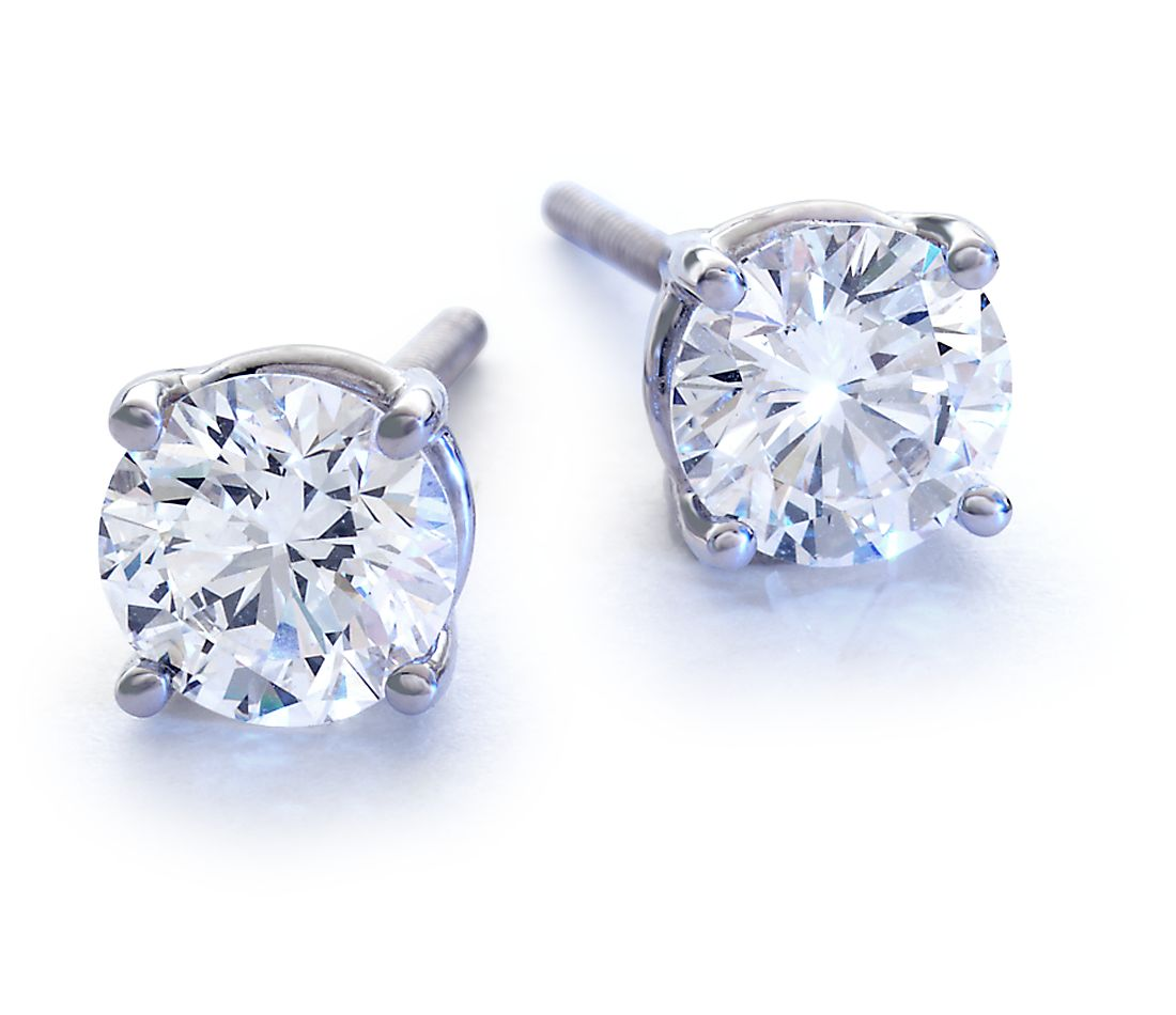 18k White Gold Four-Claw Earring Setting