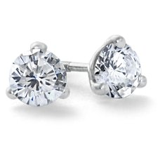 Martini Three-Prong Earrings in 18k White Gold