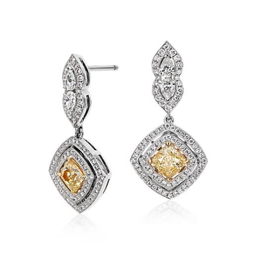 Fancy Yellow Diamond Drop Earrings in 18k White Gold