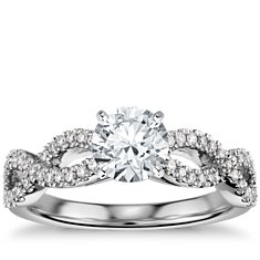 Infinity Twist Micropavé Diamond Engagement Ring in 14K White Gold